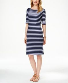 Karen Scott Striped Short-Sleeve Dress, Only at Macy's