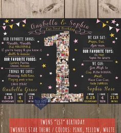 TWINS Twinkle Little Star Birthday Chalkboard by YourLifeMyDesign
