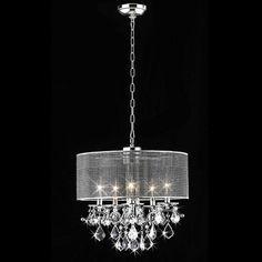 Warehouse of Tiffany 5-Light Chrome Transitional Drum Chandelier Paint metal light matte gold