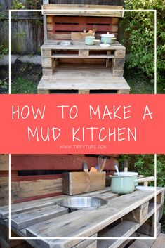 The perfect DIY project for your kids. As summer draws to a close and autumn starts to creep in, I have the perfect make for you. How to make a mud kitchen for children out of pallets. Outdoor Play Kitchen, Diy Mud Kitchen, Mud Kitchen For Kids, Kitchen Ideas, Kitchen Modern, Pallet Kids, Recycled Pallets, Pallet Projects, Wood Pallet Crafts