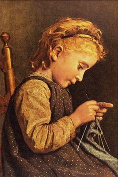 Albert Anker (Swiss artist, 1831-1910), Little Girl Knitting
