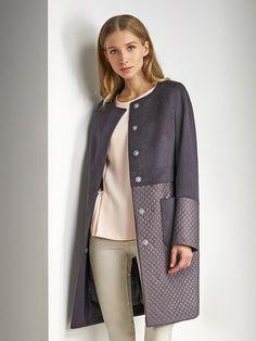 Пальто женское демисезонное цвет антрацит, Плащевая ткань, артикул 3017860p10089