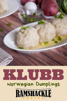 These Norwegian potato Klubb Dumplings are so tasty, filling, and a great way to celebrate Scandinavia. Whether it is a holiday tradition or a weeknight meal, these pork-filled dumplings are worth the effort. via visit the site for complete recipe Norwegian Cuisine, Norwegian Food, Norway Food, Swedish Recipes, Norwegian Recipes, Dumpling Recipe, Potatoe Dumplings, German Recipes, Salad Bar