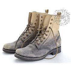 Frye Pre-owned Rdc4741 Frye Stone Grey Veronica Combat Motorcycle... ($316) ❤ liked on Polyvore featuring shoes, boots, grey, combat boots, mid calf combat boots, grey combat boots, biker boots and gray shoes