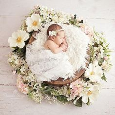 Newborn girl , flowers, spring set up , newborn photography Visit my page for more photos from this session naissance part naissance bebe faire part felicitation baby boy clothes girl tips