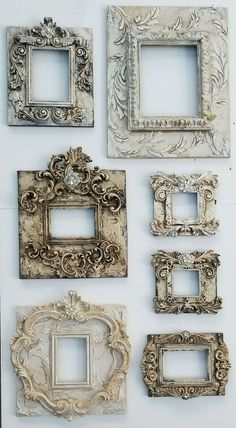 Michelle Butler Designs Picture Frames Handpainted & Jeweled 💕SHOP💕 www. Antique Picture Frames, Antique Frames, Home Crafts, Diy Home Decor, Diy And Crafts, Plaster Art, Iron Orchid Designs, Picture Design, Picture Shop