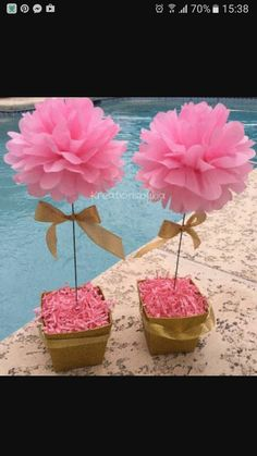 Hint of Gold// floral tissue paper pom pom topiary centerpiece Baby Shower/Bridal - Decoration For Home Topiary Centerpieces, Shower Centerpieces, Baby Shower Decorations, Flower Decorations, Tissue Paper Decorations, Paper Flower Centerpieces, Table Decorations, Papel Tissue, Tissue Paper Flowers