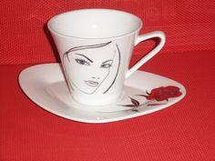 Tasse à café et sa soucoupe en porcelaine : Vaisselle, verres par passionporcelaine