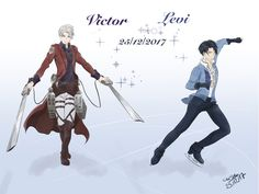 Happy Birthday Victor and Levi by cerisebio.deviant… on Happy Birthday Victor and Levi by cerisebio.deviant… on Levi Ackerman, Ereri, Eren E Levi, Yuri On Ice Comic, Victor Nikiforov, Japanese Novels, Black Buttler, Cartoon Crossovers, Attack On Titan Anime