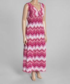 Another great find on #zulily! Magenta Chevron Surplice Maxi Dress - Plus #zulilyfinds