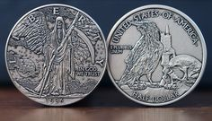 The 'Walking Reaper' - Based on what is considered one the most beautiful coins of all time, the Walking Liberty Dollar. Front side (obverse) features a grim reaper you never want to meet, and the back of the coin shows a Poe-esque scene with a raven. Nevermore! Aged with an antique silver-finish. As with all the coins, this is a 39mm die-struck, hefty 12 gauge coin.   Chris Ovdiyenko of Dead on Paper.  Available on Kickstarter.
