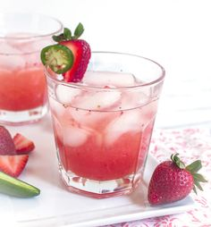 Spicy Strawberry Jalapeno Daiquiris with Cruzan Rum Strawberry