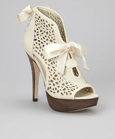 Take a look at this Cream Valachi Leather Peep-Toe Pump by Creative Recreation on #zulily today!