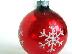 Snowflake Christmas Ornament Red with White Vintage U.S.A. Ball.  Etsy#