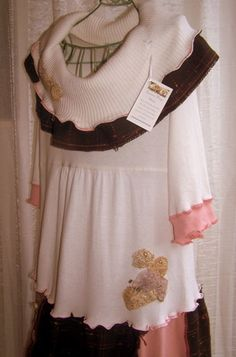 Snow Blossom Sweater Dress SIZE L Refashion by TattersToTreasures, $64.00