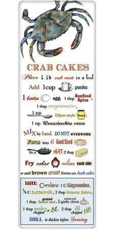 We treasure the recipe dish towel! Discover flour sack towels for every cook's decor and holidays. This one features an amazing recipe for fresh Crab Cakes.