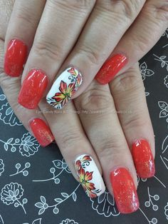 Coral gel polish with one stroke flower nail art Taken at:5/2/2014 1:59:48 PM Uploaded at:5/9/2014 7:00:34 PM Technician:Elaine Moore