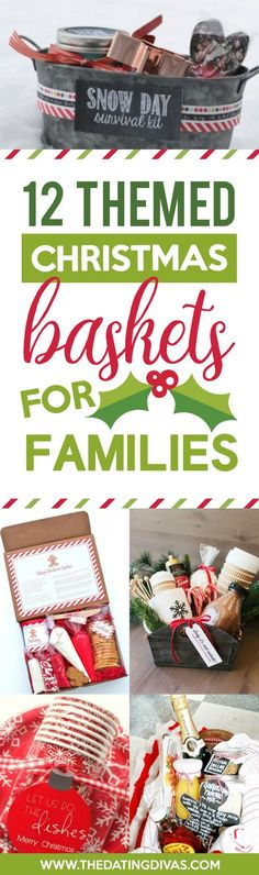 Christmas Gift Baskets for Families Ideas for family Christmas Gift Basket Ideas for Everyone - The Dating Divas Diy Christmas Baskets, Homemade Christmas Gifts, Homemade Gifts, Holiday Fun, Holiday Gifts, Christmas Holidays, Christmas Crafts, Christmas Decorations, Christmas Ideas