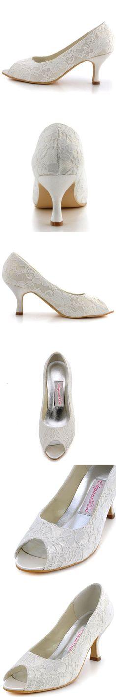 ElegantPark WP1403 Peep Toe Women's Pumps Rhinestones Mid Heel Wedges Knot Satin Wedding Bridal Shoes White US 9