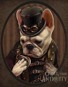 Emerson the French Bulldog Gentleman Victorian Steampunk Top Hat Goggles Pocketwatch Original Illustration Portrait 5x7in Mini Print