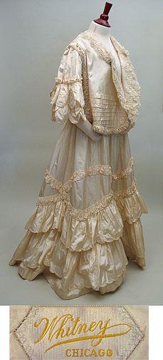Edwardian 1900s Antique Wedding Suit Gown in Cream Silk Taffeta SZ M/L