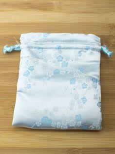Premium Mala Bag - Light Blue with Sky Blue Flower Plum Blossoms Brocade