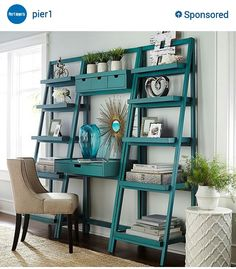 Walk in Vanity with storage. Could be made using Ikea ladder bookcases which are frequently on sale.