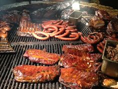 Found at The Salt Lick BBQ in Austin, TX: the ultimate BBQ pit of meaty favorites: beef brisket, pork ribs, salty pork sausage + grilled whole chickens and turkey breasts.  See our tips for all-things Austin: http://ow.ly/9AiIv.