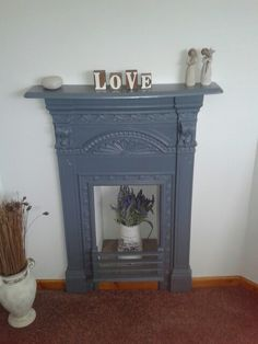 Upcycled cast iron fireplace in my bedroom. Cast Iron Fireplace Bedroom, Cast Iron Fireplace Insert, Paint Fireplace, Small Fireplace, Fireplace Inserts, Fireplace Surrounds, Fireplace Ideas, Fireplace Decorations, Victorian Bedroom