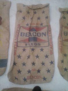 Vintage Burlap Feed Bag by KeyportHoneyHole on Etsy, $20.00