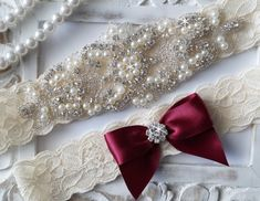 This beautiful Wedding Garter Set is made with fine stretch lace. The jewel is made with numerous pearls and high quality rhinestones. Matching toss
