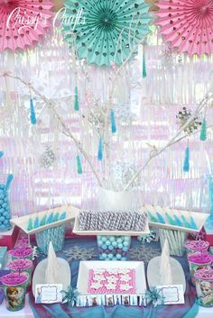 Love all these candies and treats at this Disney Frozen  party, especially the rock candy icicles! See more party ideas at CatchMyParty.com. #disneyfrozen