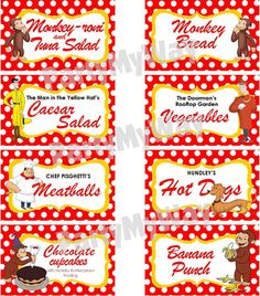 INSTANT DOWNLOAD  Food Labels Curious George by TreFratelliParties