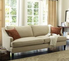 Landon Upholstered Sofa, Down-Blend Wrap Cushions, Washed Linen-Cotton Silver Ta - traditional - sofas - Pottery Barn