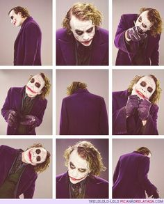 Heath Ledger como Joker. - villain lock-in - joker make-up station...? - also villains through time