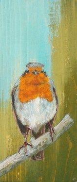 Saatchi Online Artist steven ferguson; Painting, Robin on branch #art