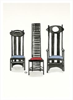 HAPPY BIRTHDAYCharles Rennie Mackintosh! Watercolor paintings of some of the Mackintosh's Chairs. Available at http://fineartamerica.com/featured/argyle-chair-hill-house-chair-and-argyle-carved-chair-by-charles-rennie-mackintosh-eugenia-alvarez.html