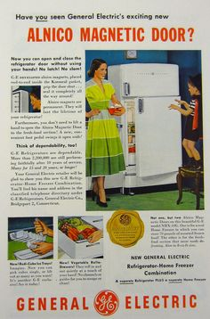 refrigerator ads from the 1950s | Vintage Kitchen Ad - 1950s GE Refrigerator Freezer