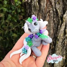 Flora - Succulent Unicorn Filly By Whisper Fillies Whisperfillies.etsy.com Unique little handmade polymer clay horse, pony, unicorn and fantasy creatures  Find my work on Instagram and Facebook too! Nerd geek geeky collectible model horse nerdy kawaii whimsical art doll dolls toy succulents flowers
