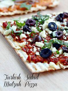 Sabra Turkish Salad Matzah Pizza - starting to get excited to have Matzah Pizza!!