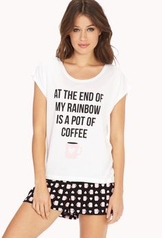 End Of Rainbow PJ Set | FOREVER21 Love coffee #F21Crush #Pajamas