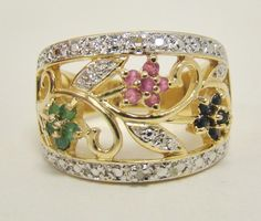 GOLD OVER 925 STERLING SILVER RING SIZE 6.25 FLOWER RUBY SAPPHIRE EMERALD 5.2g #Cluster