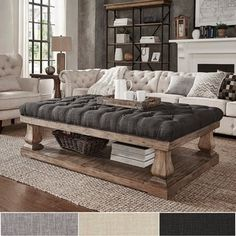 Knightsbridge Tufted Linen Baluster 60-inch Cocktail Ottoman by SIGNAL HILLS   Overstock.com Shopping - The Best Deals on Coffee, Sofa & End Tables