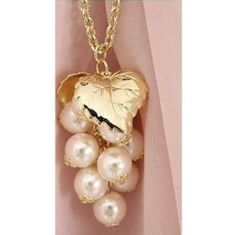 JA115 Cute Grape Shaped Pendant Necklace Golden Leaf Faux Pearls Necklace | eBay