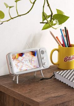 Budget-Friendly Tech Gifts for Everyone on Your List, Home Decor, Retroduck Retro TV White iPhone Dock Retro Home Decor, Diy Home Decor, Room Decor, Home Decor Accessories, Decorative Accessories, Iphone Accessories, Urban Outfitters, Retro Bedrooms, Cool Tech Gifts