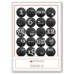 24 Adventskalender-Aufkleber Kreide rund