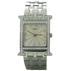 Hermes Lady's Stainless Steel and Diamond H Hour Wristwatch with Bracelet | From a unique collection of vintage wrist watches at http://www.1stdibs.com/jewelry/watches/wrist-watches/
