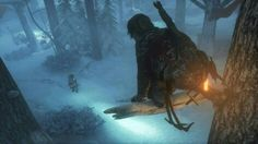 Stalking her prey in Rise of the Tomb Raider