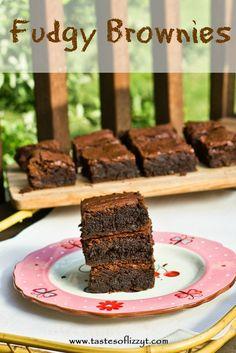 Fudgy Brownies {Tastes of Lizzy T} Our favorite from-scratch brownies! http://www.tastesoflizzyt.com/2013/07/16/fudgy-brownies/