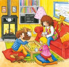 Puzzle Môj deň - Obývacia izba Puzzles, Cozy, Cards, Fire, Drawings, Desserts, Puzzle, Riddles, Deserts